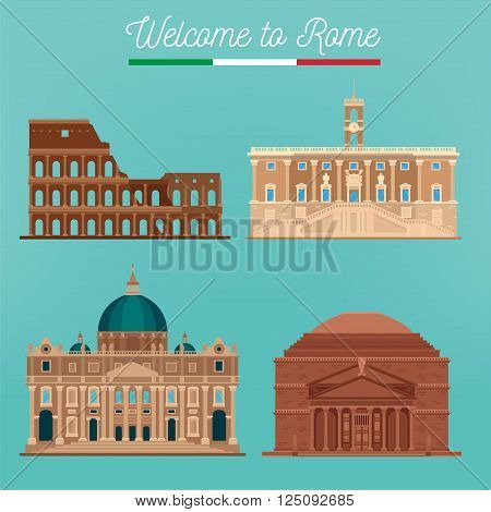 Rome Architecture. Tourism Italy. Coliseum. Rome Buildings. Welcome to Rome. Vector illustration