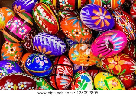 Vilnius, Lithuania - March 5: Background with Easter eggs at the trade fair of kazukas in March 5, 2016 in Vilnius, Lithuania.