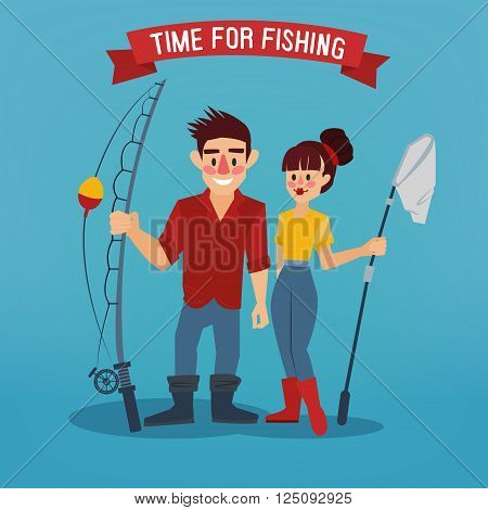 Man and Woman Fishers. Time for Fishing. Man with Fishing Rod. Active People. Vector illustration