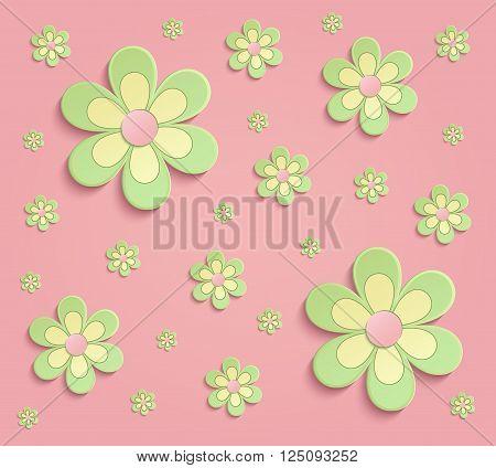 Flowers Spring paper 3D pink green wallpaper raster