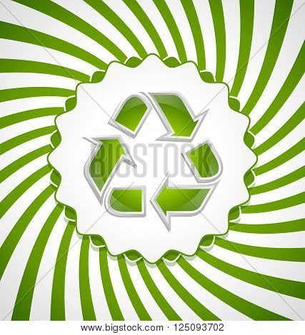 Green and glossy recycled symbol icon with badge on twisted white and green background