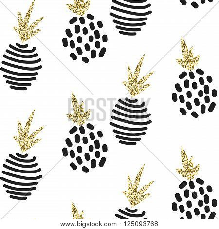 Glitter abstract pineapple ornament. Vector white gold seamless pattern collection. Modern shimmer details stylish texture.