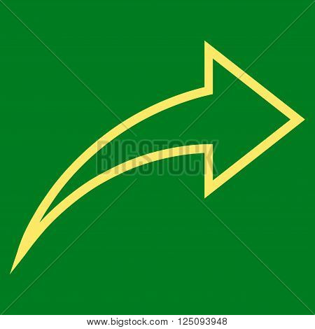 Redo vector icon. Style is stroke icon symbol, yellow color, green background.
