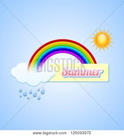 Summer button with rainbow sun cloud and rain drops
