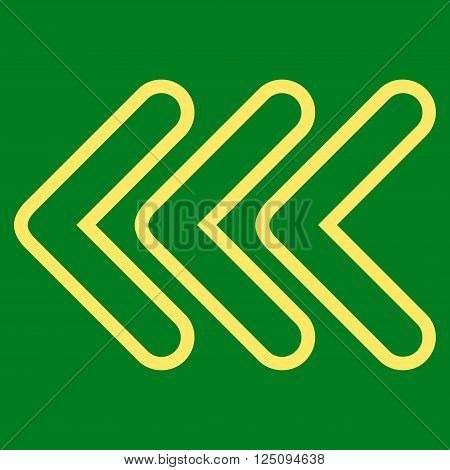 Triple Pointer Left vector icon. Style is stroke icon symbol, yellow color, green background.