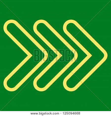 Triple Pointer Right vector icon. Style is thin line icon symbol, yellow color, green background.