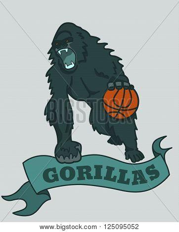 Gorilla basketball club emblem. EPS10 vector illustration