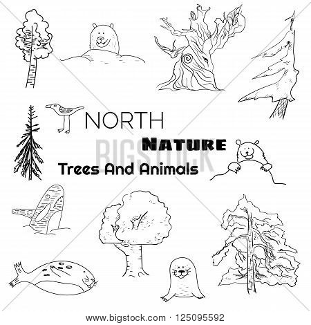 Set of north nature doodle animals and trees. EPS10 vector