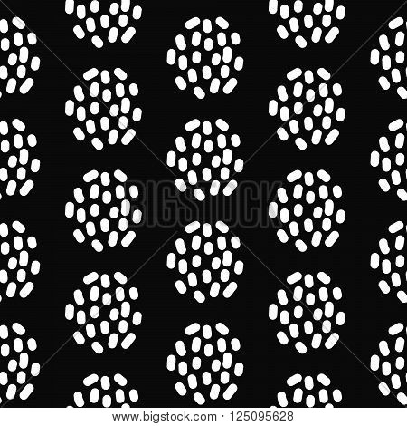 Paint ink brush dotted strokes vector seamless black pattern. Artistic monochrome black and white stains and swabs in abstract manner.