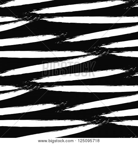 Paint white ink brush strokes bold zebra vector seamless pattern. Artistic monochrome black and white stains and swabs in abstract manner.