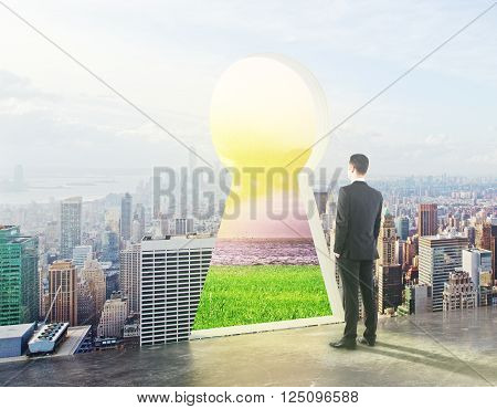 Businessman looking at keyhole gate with bright landscape. 3D Rendering
