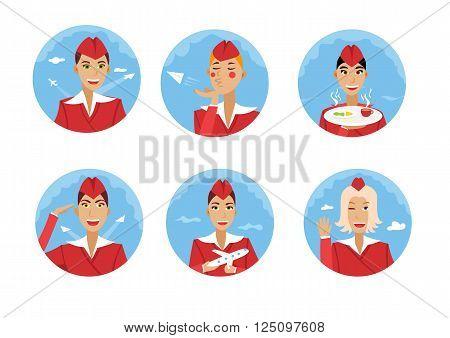 Six cute vector stewardesses in red uniform