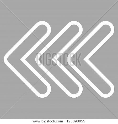 Triple Pointer Left vector icon. Style is thin line icon symbol, white color, silver background.