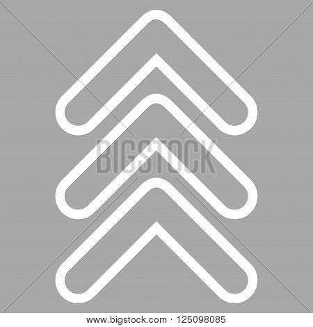 Triple Pointer Up vector icon. Style is outline icon symbol, white color, silver background.