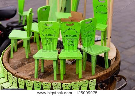 Vilnius, Lithuania - March 6: the chair of the kazukas - traditional souvenir from popular Lithuanian fair in March 6, 2016, in Vilnius, Lithuania.