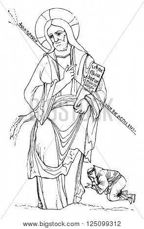 Saint Dunstan in knees of Jesus Christ, vintage engraved illustration. Colorful History of England, 1837.
