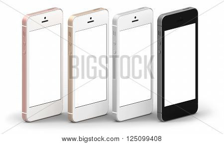 Set of four smartphones gold, rose, silver and black with blank screen. Real camera, high resolution,3D Illustration.