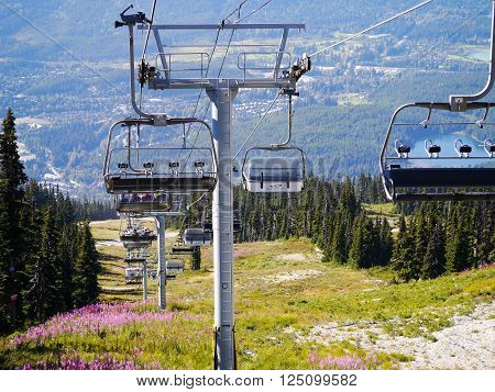 WHISTLER, BC, CANADA - August 18, 2015 :Solar Coaster Chairlift on Blackcomb Mountain, Whistler BC. Whistler, BC, Canada, August 18, 2015