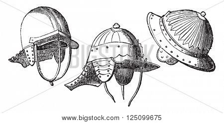 Helmets of Cromwell's time, vintage engraved illustration. Colorful History of England, 1837.