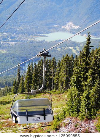WHISTLER, BC CANADA - August 18 2015 :Solar Coaster Chairlift on Blackcomb Mountain, Whistler BC. Whistler, BC, Canada, August 18 2015