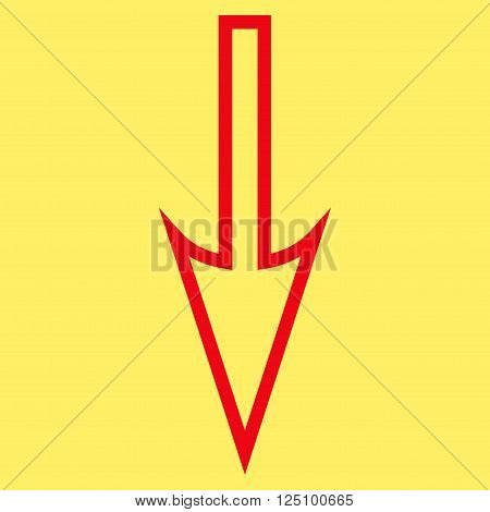 Sharp Arrow Down vector icon. Style is outline icon symbol, red color, yellow background.