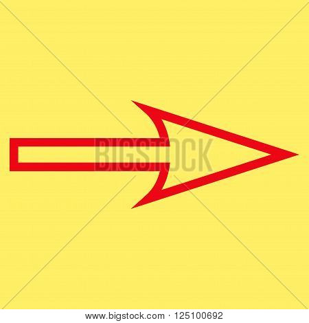 Sharp Arrow Right vector icon. Style is stroke icon symbol, red color, yellow background.
