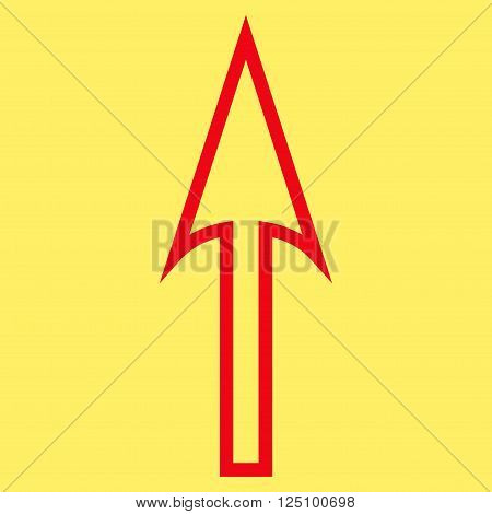 Sharp Arrow Up vector icon. Style is thin line icon symbol, red color, yellow background.