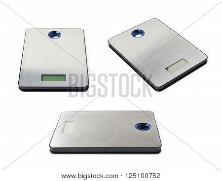 Digital kitchen steel metal scales isolated over the white background, set of three different foreshortenings