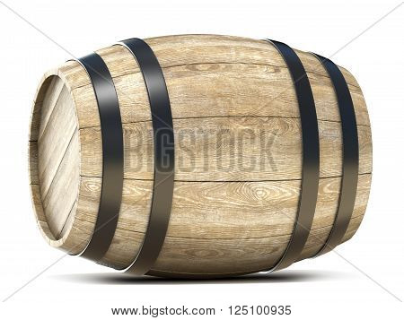 Wooden barrel. 3D render illustration isolated on white background
