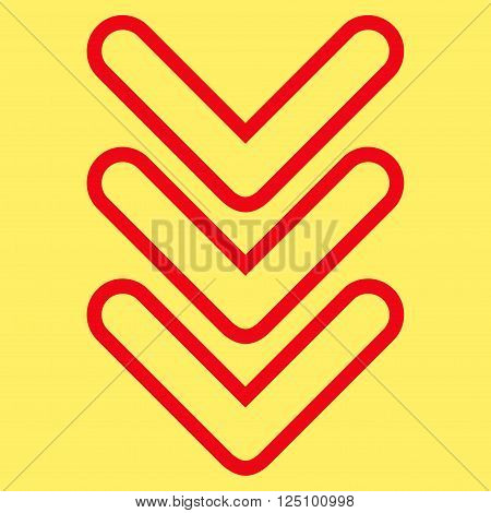 Triple Pointer Down vector icon. Style is outline icon symbol, red color, yellow background.