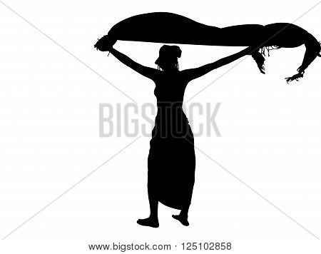 Fashion, sexy woman silhouette with flying sarong, black backlight isolated on white background.