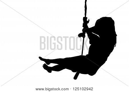 Happy sporty woman silhouette swinging in the air, black backlight isolated on white background.