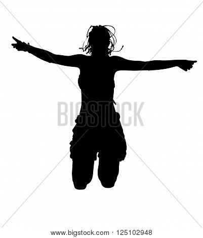 Happy sporty woman silhouette jumping in the air, black backlight isolated on white background.