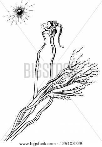 Futuristic woman on a white background. Surrealistic vector design can use for posters cards stickers illustrations as decorative element.