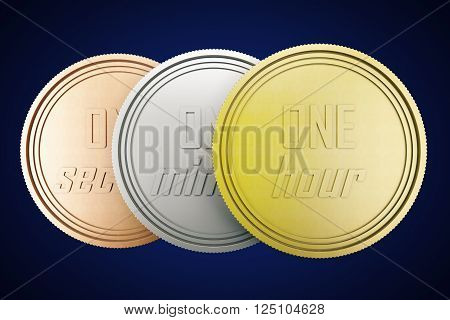 Time is money concept with time coins in gold silver and copper isolated on dark blue background. 3D Rendering