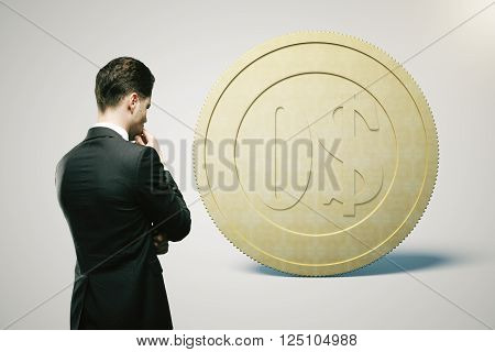 Financial concept with thinking businessman looking at zero dollar coin on light grey background. 3D Rendering