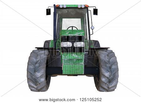 3D illustration of the old rusted tractor on white background isolated