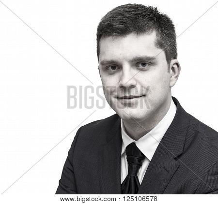 Black and white portrait of European businessman.