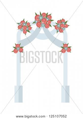 Wedding arch with pink roses vector illustration