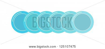 Stack of clean set plates saucers small blue with border kitchen dishware flat vector.