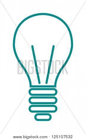 Light lamp sign icon electricity idea energy power symbol line art vector.