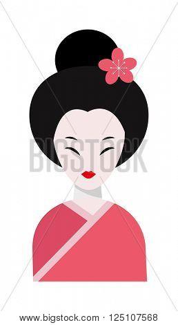 Japanese woman folk-art maiden cute kokeshi beautiful asian character vector.