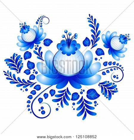 Blue floral ornament in Gzhel style on white background. Russian folklore. Vector illustration