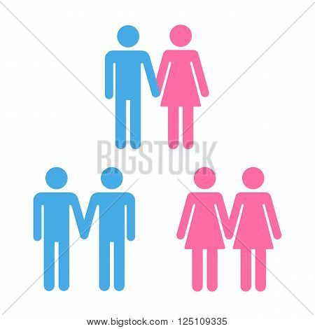 Set of heterosexual and homosexual couple symbols. Isolated vector couple icons illustration.