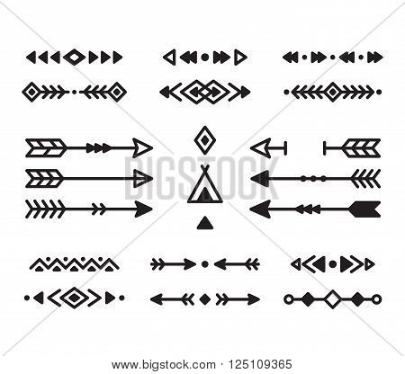 Native American Indian design elements set. Borders arrows ornaments and other symbols. Tribal vector elements in modern geometric style.