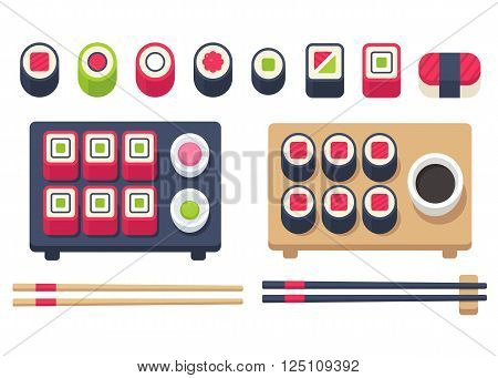 Big flat sushi set with chopsticks and accessories. Japanese food set sushi rolls and sashimi. Vector illustration.