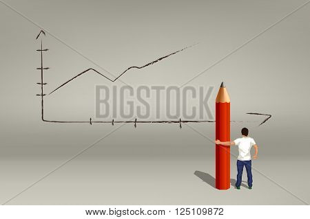 silhouette of proud man holding big pencil on grey background