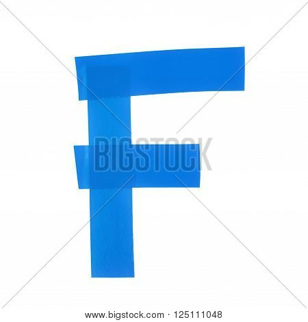 Letter F symbol made of insulating tape pieces, isolated over the white background