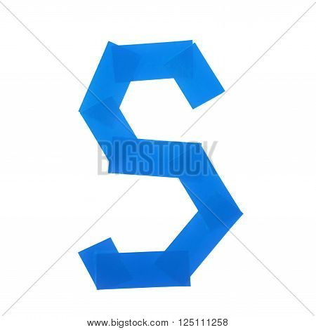 Letter S symbol made of insulating tape pieces, isolated over the white background