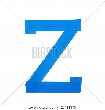 Letter Z symbol made of insulating tape pieces, isolated over the white background
